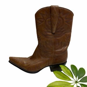 Vintage Guess Brown Leather Cowboy Boots 7.5